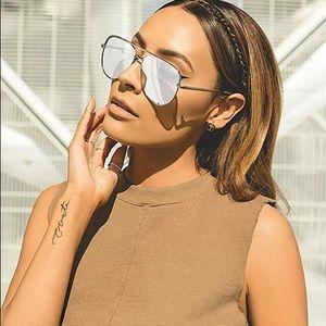 Quay X Desi High Key Aviator Sunglasses Silver